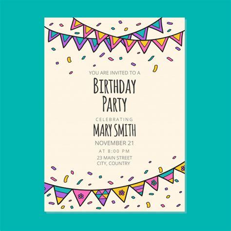 Happy birthday invitation card design Premium Vector