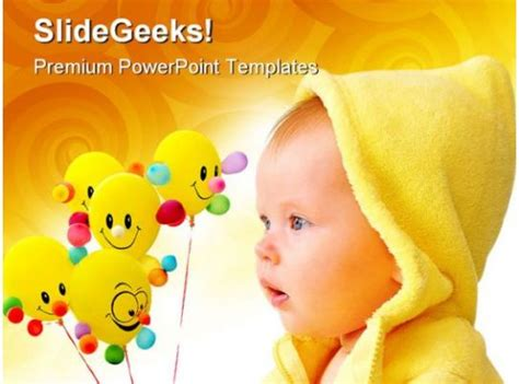cute child  balloons baby powerpoint templates