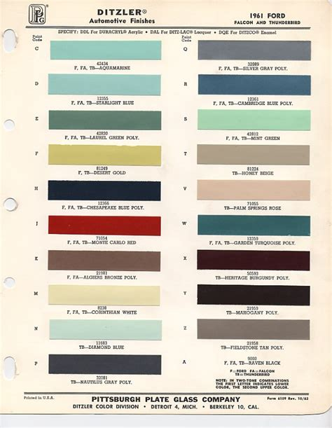 original paint colors for cars 1961 ford color chips like blue cambridge my 40 ford project ford ford falcon
