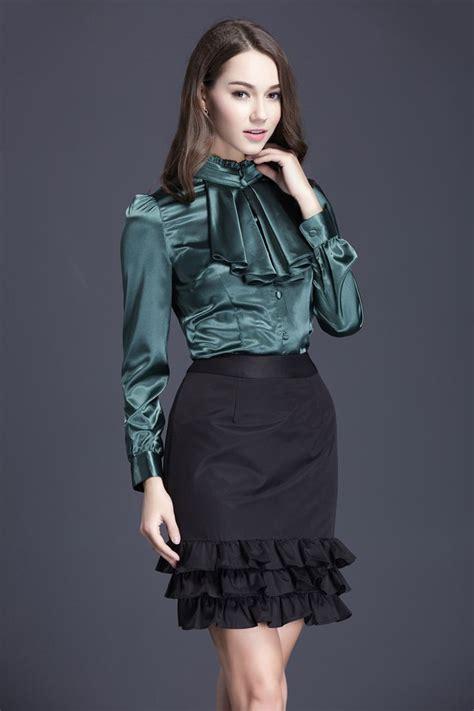 satin blouse ruffled satin blouse bows and ruffles