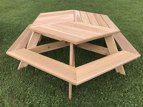 "56"" Hexagonal Cedar Picnic Table W Allaround Seating"