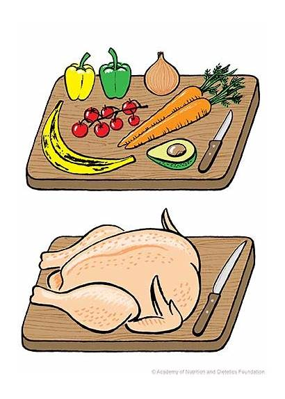 Raw Separate Meat Vegetables Separating Safety Illustration
