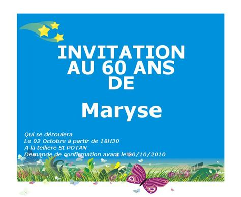 modele invitation anniversaire 60 ans modele texte invitation anniversaire de mariage 60 ans