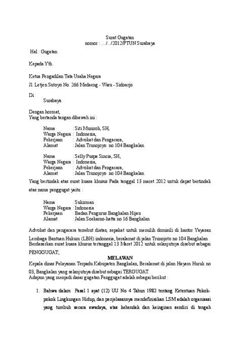 contoh surat gugatan tun indri dwi octaviana putri