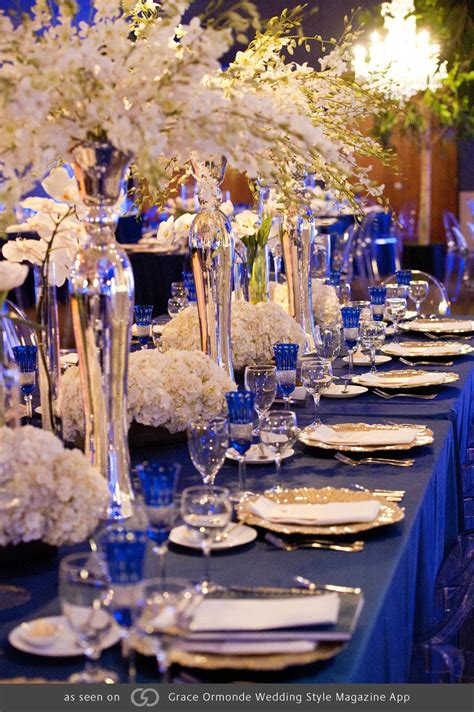 royal blue tables  pops  gold  silver featuring