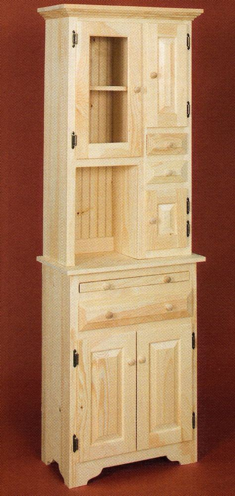 amish unfinished solid pine small hoosier cabinet