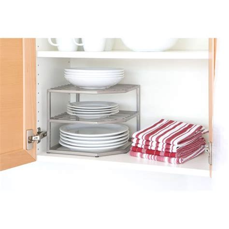 Tiered Shelves For Cabinets by 2 Tier Corner Shelf Plate Organizer Kitchen Dishes Counter