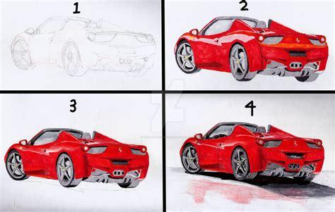 ferrari drawing how to draw a ferrari 458 spider www imgkid com the