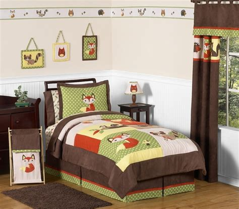 fox comforter set woodland forest animals bedding 4pc boys set