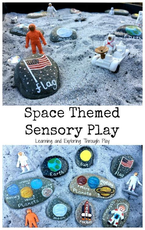 space themed sensory tray space preschool outer space