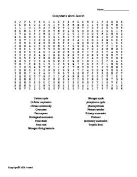 science vocabulary word search worksheet ecosystems vocabulary word search for environmental