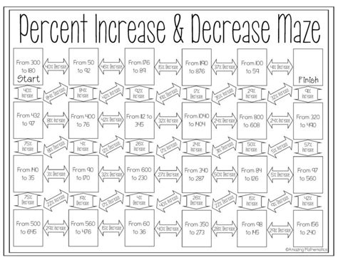 percent increase and decrease maze maze