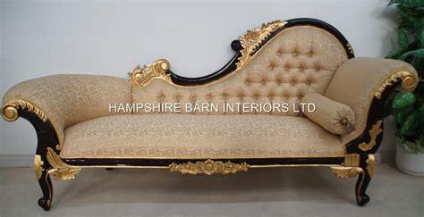 Chaise Longue Large Ornate Mahogany W Gold Cream Lounge