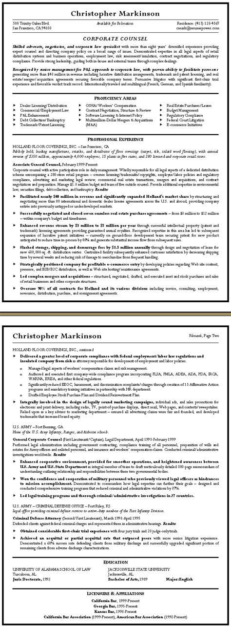 corporate counsel sle resume resumepower