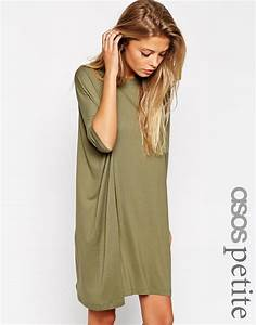 asos the t shirt dress with short sleeves in natural lyst With robe tee shirt femme