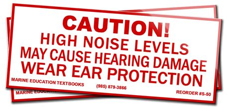 caution high noise levels   hearing damage wear ear protection