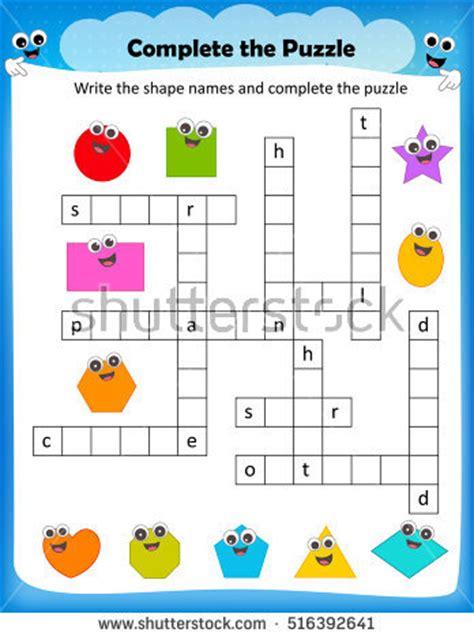 crossword kid stock images royalty free images amp vectors 878 | stock vector worksheet complete the crossword puzzle d shapes worksheet for preschool kids 516392641