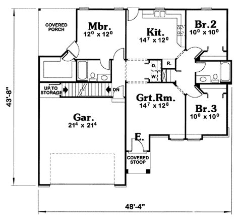 Traditional Style House Plan 3 Beds 2 00 Baths 1191 Sq