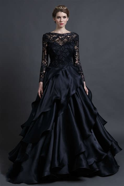 elegant black lace wedding dress   long sleeve