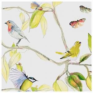 Papier Peint Papillon Oiseau : papier peint cime naturel oiseaux papillons et feuilles ~ Zukunftsfamilie.com Idées de Décoration