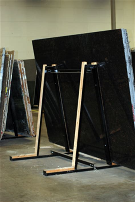 a frame slab rack floor display unit