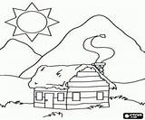Coloring Cabin Mountain Log Pages Cabins Sketch Template Bergen Printable Woods Sketches Para Colorir Cabana Casa sketch template