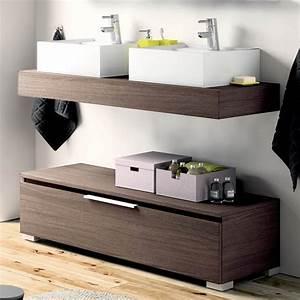 Meuble Tiroir Salle De Bain : plan vasque salle de bain 120cm meuble poser options linum ~ Teatrodelosmanantiales.com Idées de Décoration