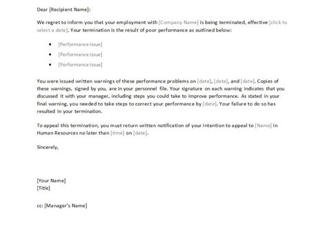 termination letter  employee template