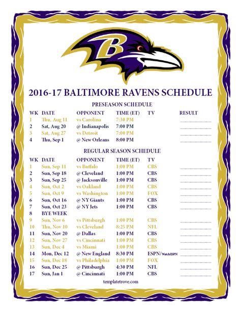 printable   baltimore ravens schedule
