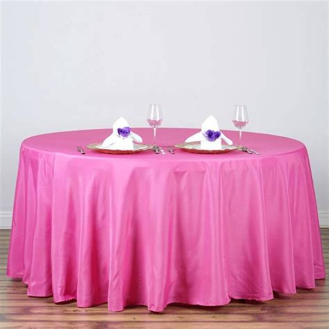 fushia 120 quot round polyester tablecloth efavormart