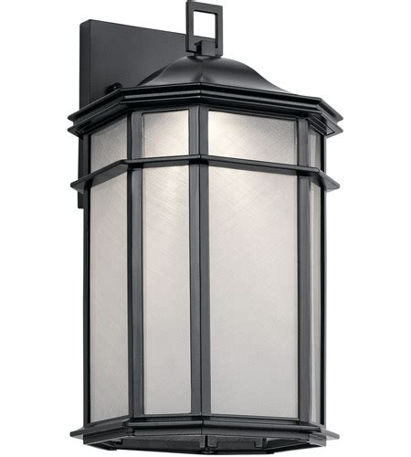 kichler 49899bkled kent led 15 inch black outdoor wall