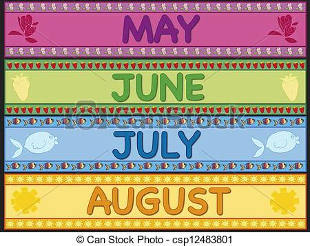 May june july august. Illustration of may, june, july and ...