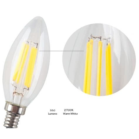 6w non dimmable led filament candle light bulb 2700k warm