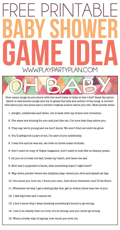 Free Baby Shower Printable - free printable baby shower songs guessing play