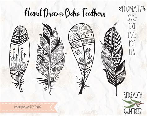hand drawn feathers patterned boho feathers woodland feathers native feathers  svg eps