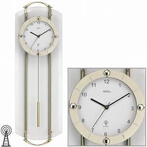Wanduhr Mit Pendel : ams 5265 wanduhr funk funkwanduhr mit pendel messing ~ Watch28wear.com Haus und Dekorationen