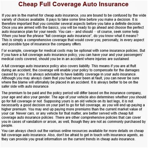 Cheap Full Coverage Car Insurance ?