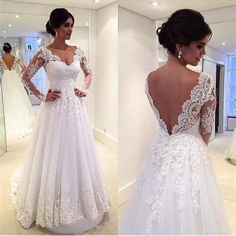 deep  neck lace wedding dresses long sleeve open