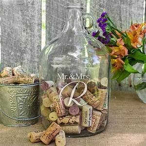 Mr & Mrs Custom Initial Wedding Wishes Glass Gallon Growler
