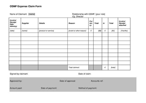 claim expenses form template file osmf expenses claim form v1 1 pdf openstreetmap