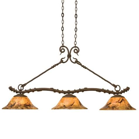 vine wrought iron three light hanging island table