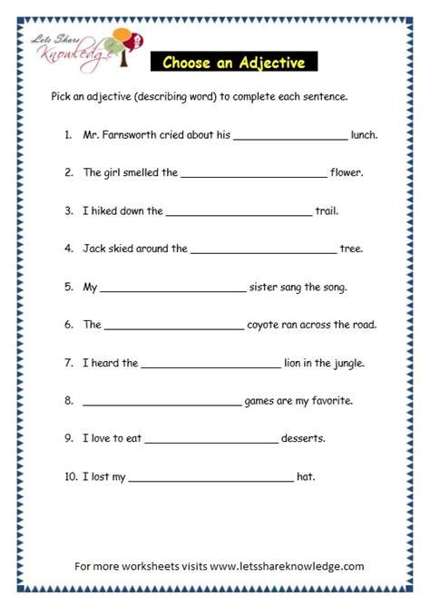 grade 3 grammar topic 5 parts of speech worksheets lets