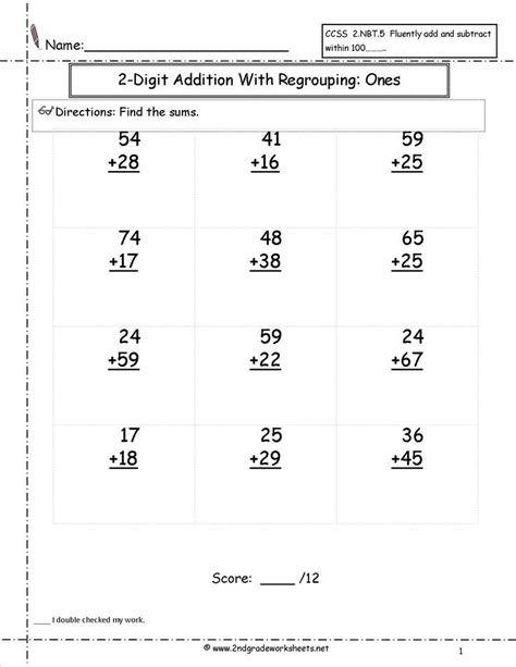 digit addition  regrouping worksheet  images