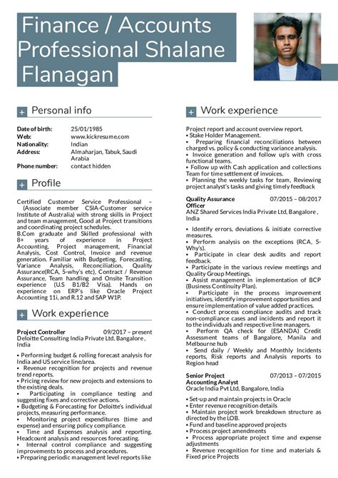 Accounts And Finance Resume Format by Resume Exles By Real Deloitte Finance Manager