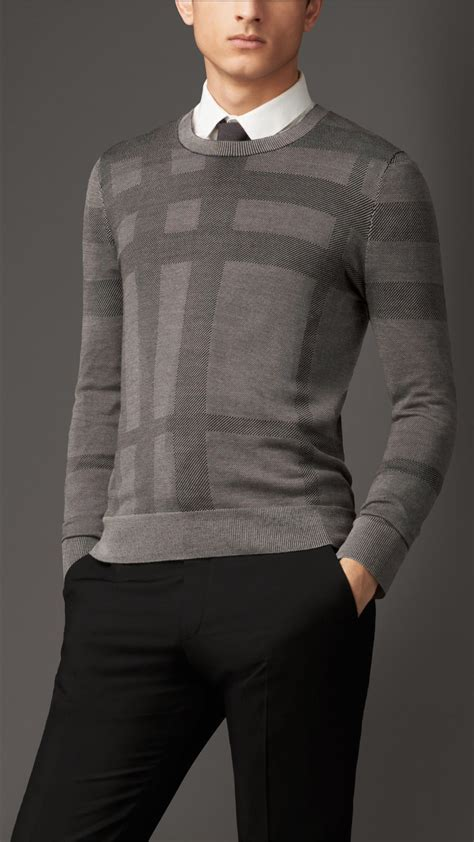 mens burberry sweater burberry check crew neck silk sweater in gray for
