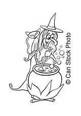 Cartoon Witch Clip Coloring Clipart Illustration Halloween Mixture Funny Cook Fotosearch Hag Eps Fantasy Witchcraft Illustrations Italian Izakowski Children Featurepics sketch template