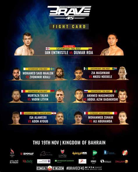 BRAVE CF 45 updated fight card set for Nov 19 - FIGHTMAG