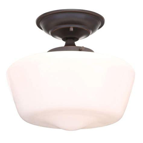oil rubbed bronze ceiling fan with light flush mount hton bay esdale 1 light oil rubbed bronze semi flush