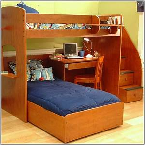Twin, Over, Twin, Bunk, Bed, With, Stairs, And, Desk