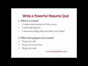 how to write a powerful resume to find a job fast youtube With how to make a quick resume for a job